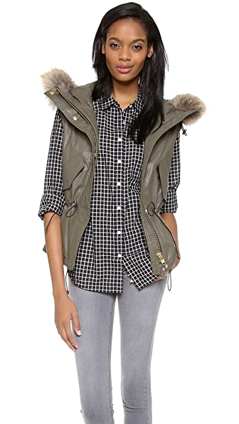 SAM. Madison Drawstring Vest with Fur Trim