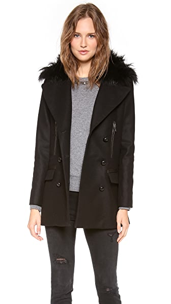SAM. Boyfriend Pea Coat with Fur Collar