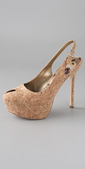 Sam Edelman Novato Open Toe Cork Platform Pumps