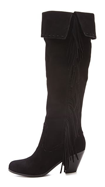 Sam Edelman Luella Over the Knee Fringe Boots
