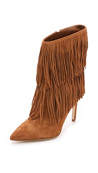 Sam Edelman Belinda Suede Fringe Booties - Deep Saddle