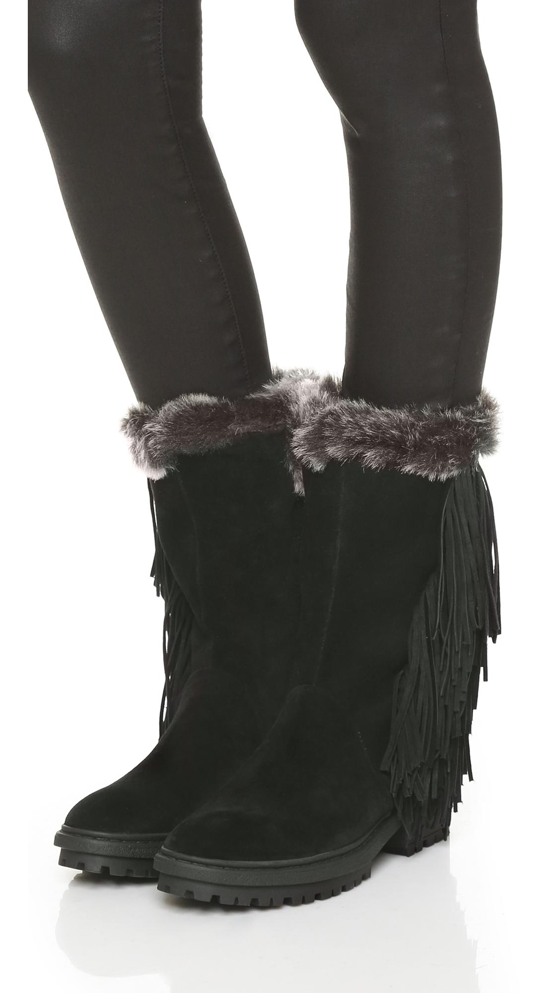 f7097e2e0a5826 Sam Edelman Tilden Faux Fur Lined Fringe Boots