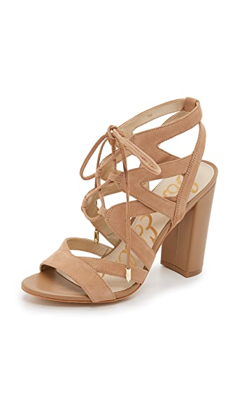 Sam Edelman Yardley Lace Up Sandals In Golden Caramel