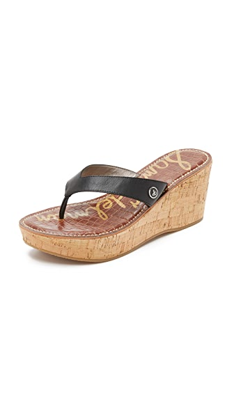 ce3b02c7c28e9a Sam Edelman Romy Wedge Thong Sandals In Black