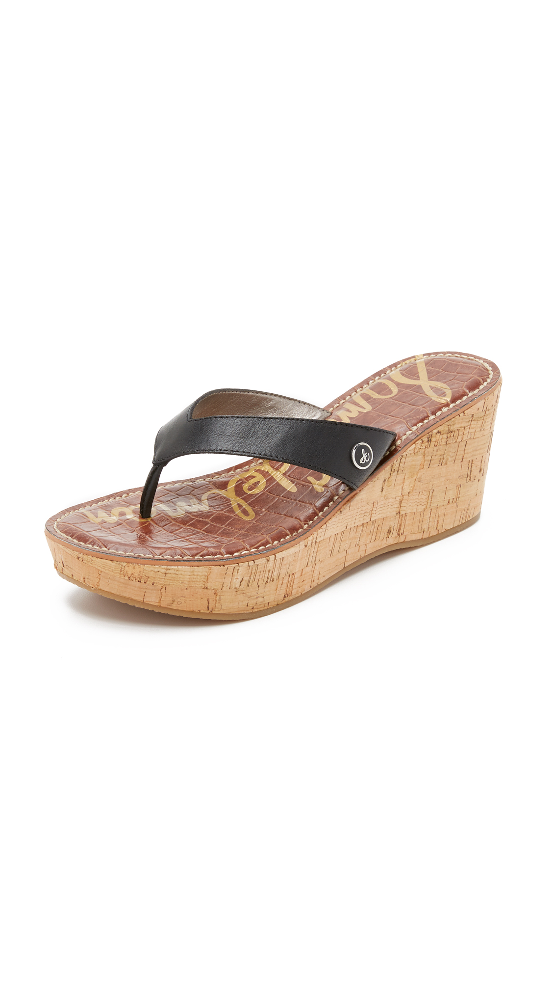 Sam Edelman Romy Wedge Thong Sandals - Black