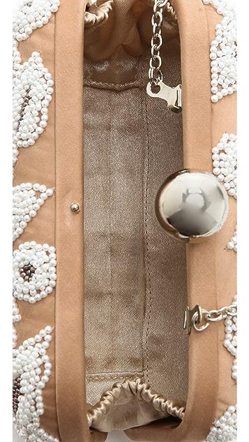 Santi White Embroidered Box Clutch