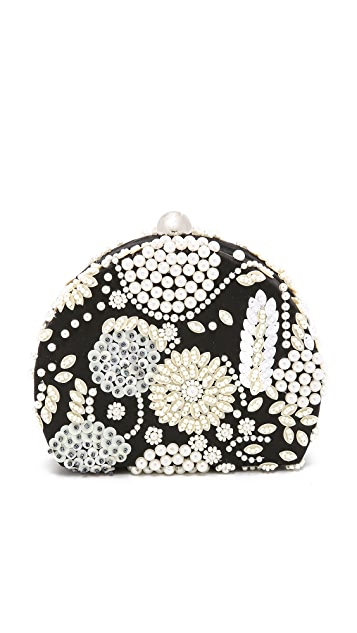 Santi Imitation Pearl Embroidered Clutch
