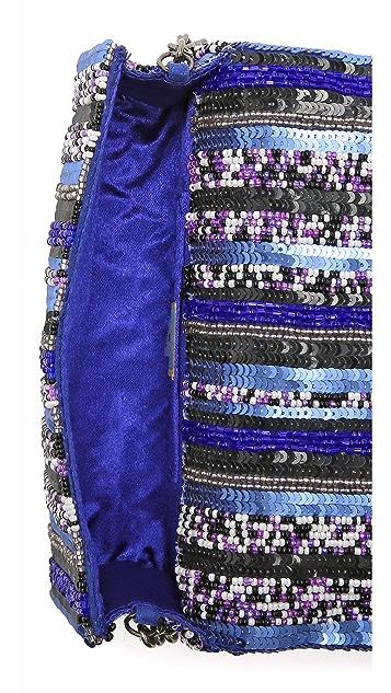 Santi Stripe Embroidered Clutch