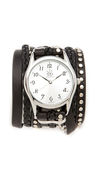 Sara Designs Leather Studded Wrap Watch