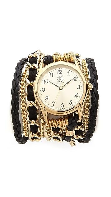 Sara Designs Braided Leather & Chain Wrap Watch