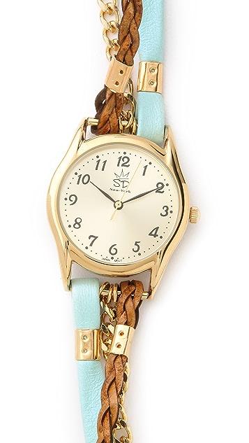 Sara Designs Flat Leather & Chain Wrap Watch