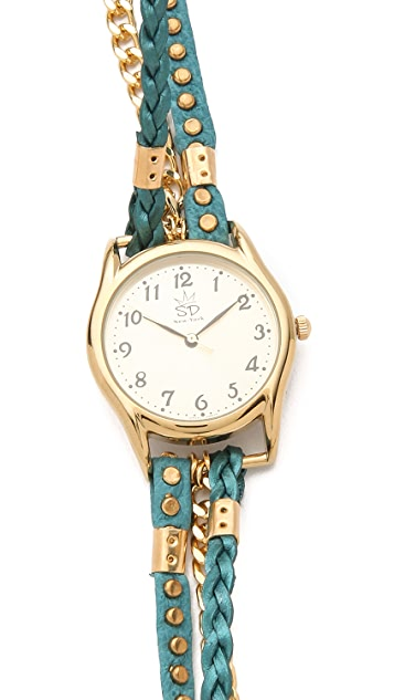 Sara Designs Studded Leather Wrap Watch