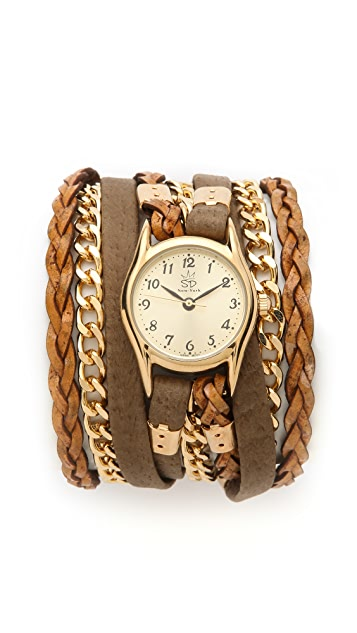 Sara Designs Leather & Suede Texture Wrap Watch