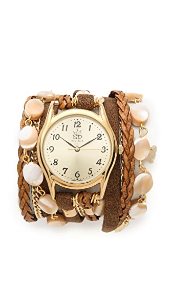 Sara Designs Iridescent Shell Wrap Watch