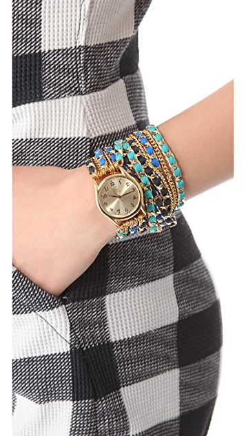 Sara Designs Leather Chain Wrap Watch