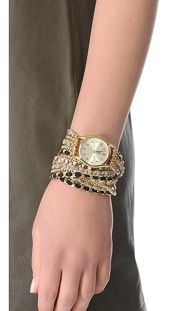 Sara Designs Leather Chain Wrap Watch