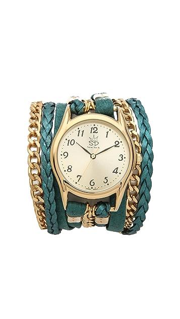 Sara Designs Nubuck Leather & Chain Wrap Watch