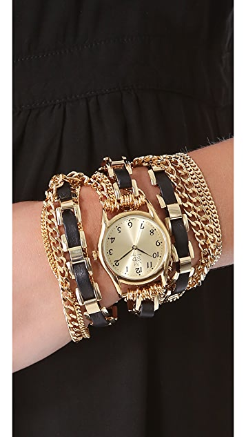 Sara Designs Woven Window Chain Wrap Watch