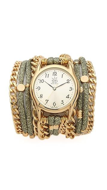 Sara Designs Metallic Silk & Chain Wrap Watch