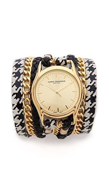 Sara Designs Houndstooth Chain Wrap Watch