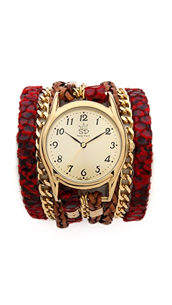 Sara Designs Red Snake Chain Wrap Watch
