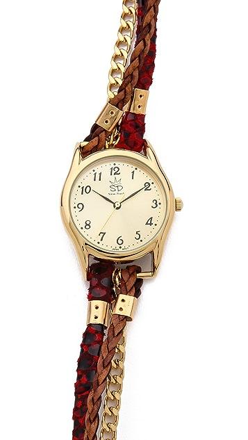 Sara Designs Red Snake Chain Wrap Watch