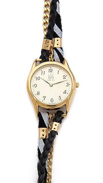 Sara Designs Zebra Chain Wrap Watch