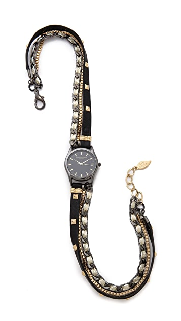 Sara Designs Pyramid Stud Leather Wrap Watch