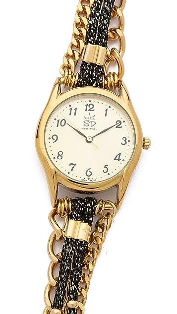 Sara Designs Metallic Cord Wrap Watch