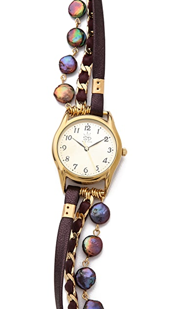 Sara Designs Coin Shaped Chain Wrap Watch
