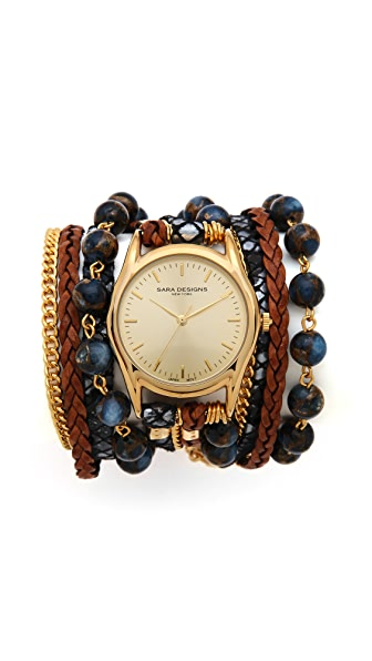 Sara Designs Agate Bead Wrap Watch