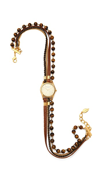 Sara Designs Leather & Beaded Wrap Watch