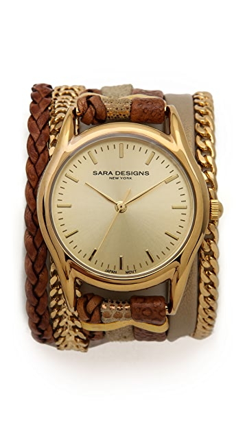 Sara Designs Multi Strand Leather Magnetic Watch