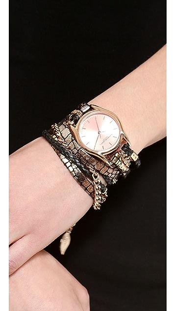 Sara Designs Printed Leather Wrap Watch