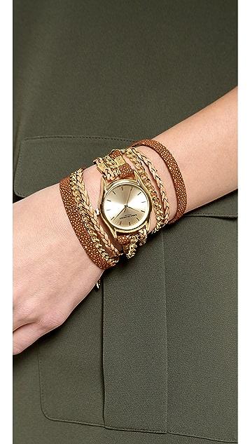Sara Designs Cedar Leather & Chain Wrap Watch