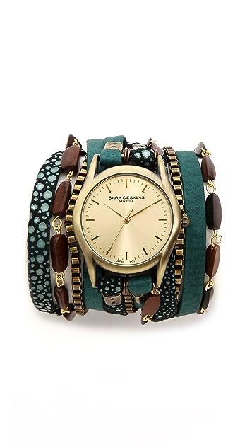 Sara Designs Nubuck Beaded Wrap Watch