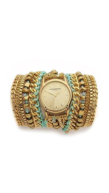 Sara Designs Cord & Chain Wrap Watch