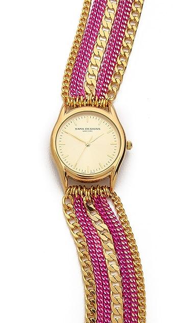 Sara Designs Colorwash Chain Wrap Watch