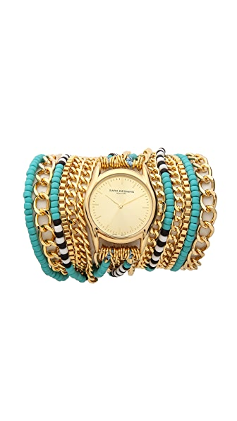 Sara Designs Beaded All Chain Wrap Watch