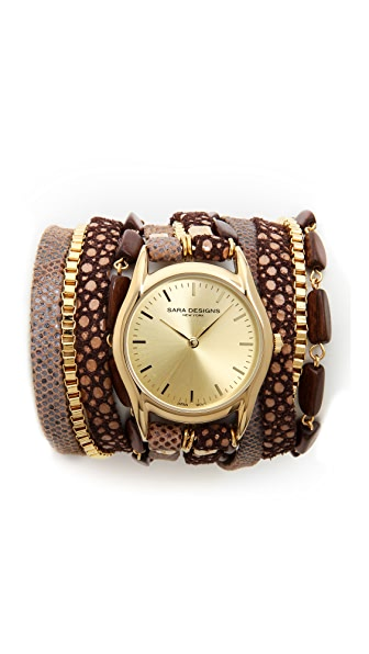 Sara Designs Latte Wrap Watch