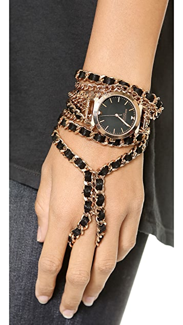 Sara Designs Hand Chain Leather Watch