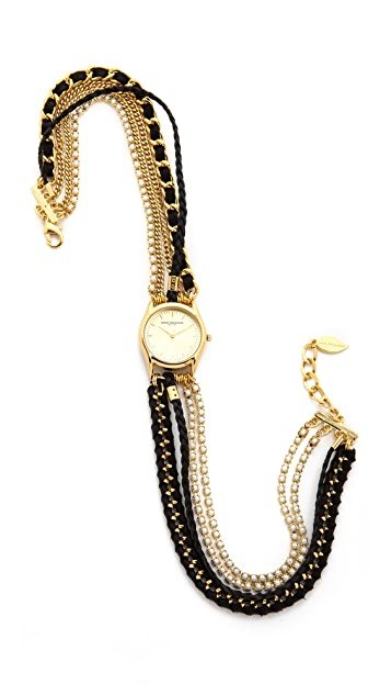 Sara Designs Pearl & Leather Wrap Watch