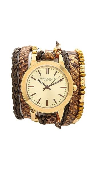 Sara Designs Crystal & Leather Wrap Watch