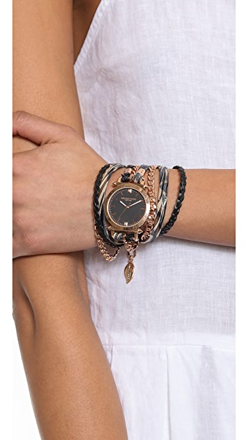 Sara Designs Printed Leather & Chain Wrap Watch