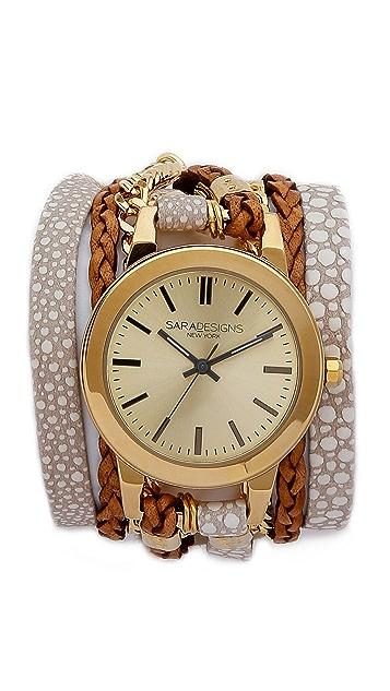 Sara Designs Printed Leather & Chain Wrap Bracelet