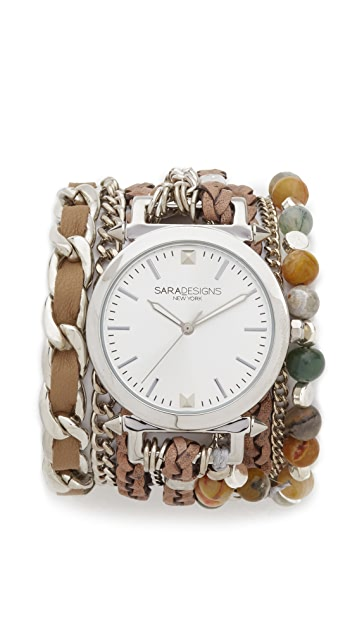 Sara Designs Agate Wrap Watch
