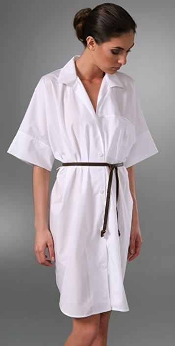 Sari Gueron Kimono Sleeve Shirt Dress with Leather Belt
