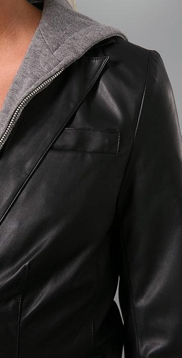 Sauce Leather Hoodie Blazer