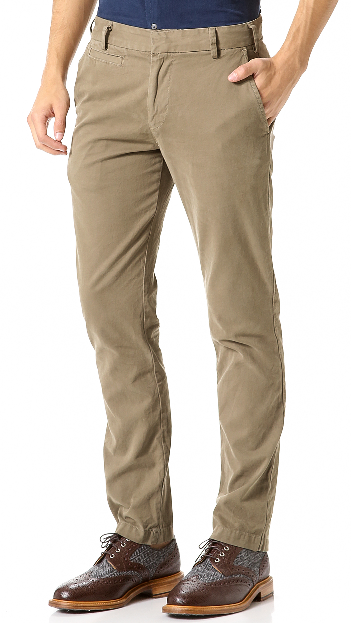 Save Khaki Slim Bedford Twill Trousers | EAST DANE | Use Code ...