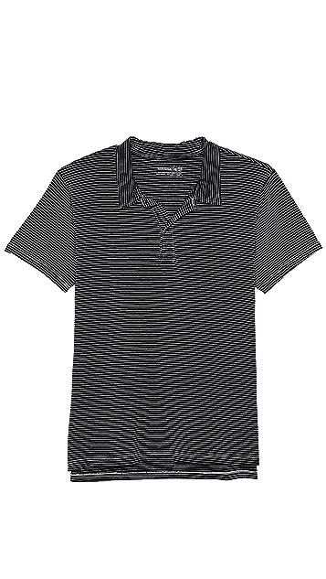 Save Khaki Short Sleeve Stripe Polo